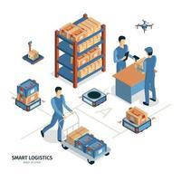 Smart Logistics Isometric Composition Vector Illustration
