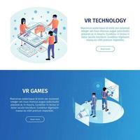 VR Horizontal Banners Set Vector Illustration