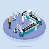 Isometric Smart Industry Background Vector Illustration