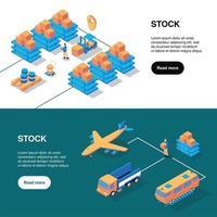 Shipping Stock Horizontal Banners Vector Illustration