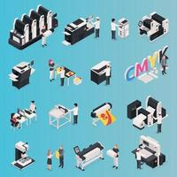 Printing House Icons Set Vector Illustration