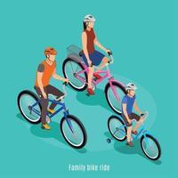 Ilustración de vector de fondo isométrico de paseo en bicicleta familiar