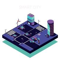 Electric City Isometric Composition Vector Illustration