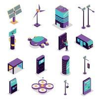 Isometric Smart City Icons Vector Illustration