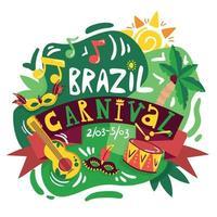 Ilustración de vector de cartel de carnaval de Brasil