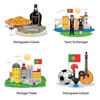 Portugal concepto de turismo iconos conjunto ilustración vectorial vector