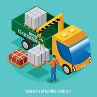 Unloading Of Building Materials Illustration Vector Illustration