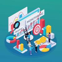 SEO Monitoring Isometric Composition Vector Illustration