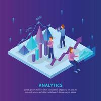 Business Analytics Isometric Background Vector Illustration