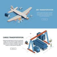 Cargo Transportation Horizontal Banners Vector Illustration