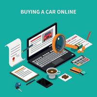 Buy Car Online Composition Vector Illustration