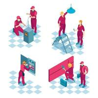 Commercial Electricians Isometric Concept Vector Illustration