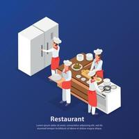 Cooking Isometric Background Vector Illustration