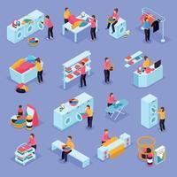Laundry Isometric Icons Vector Illustration