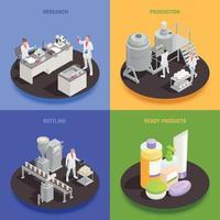 Cosmetics Production 2x2 Design Concept Vector Illustration