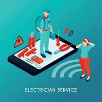 Electrician Service Isometric Composition Vector Illustration