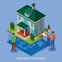 House Construction Phases Background Vector Illustration