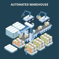 Automatic Warehouse Isometric Composition Vector Illustration