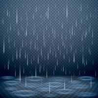 Falling Rain Realistic Background Vector Illustration