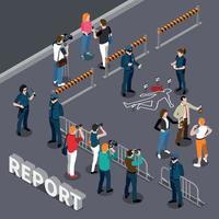 Ilustración de vector de composición de transmisión de informe de crimen