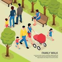 Family Walk Isometric Illustration Vector Illustration