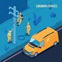 Electrician Lineman Services Poster Vector Illustration