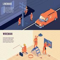 Electricians Isometric Banners Vector Illustration