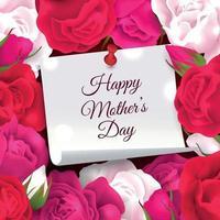 Mothers Day Flowers Frame Vector Illustration
