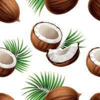 Coconut Realistic Seamless Pattern Vector Illustration