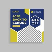 Back To School Admission Promotion Social Media Post Template Design vector