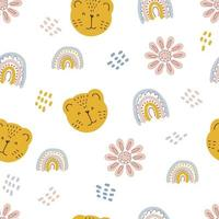 Seamless pattern of tiger muzzles rainbows and flowers in pastel color vector