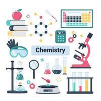 School Chemistry Laboratory Equipment Set vector