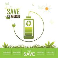 Save the world design vector