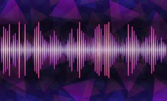 Ilustración de onda de sonido vectorial, onda de música púrpura a azul, luz púrpura brillante oscilante, fondo con tecnología de música de voz, diseño minimalista vector