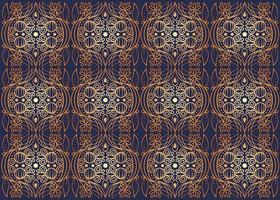 Golden textile pattern, seamless tile, trim repeating floral elements, golden stylized lines on blue background, royal textile, ornamental backdrop vector