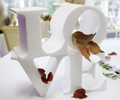 Detail of object with the word love photo