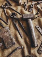 Old stone carving tools in traditional way photo