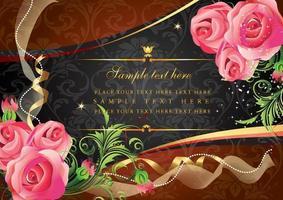 vintage floral card design vector