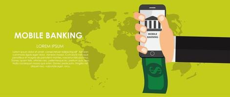 Mobile Banking Vector illustration. Flat computing background.