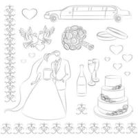 Wedding design elements template vector