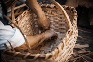 Making wicker baskets photo