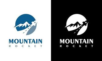 Mountain Circle Logo, highways and Rockets, Hills, Valleys vector