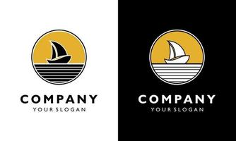 Logo design concept Vintage Sailing boat sea beach circle vector