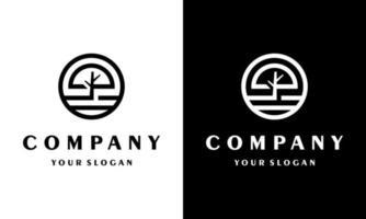 Monogram Circle Tree logo boutique Linear Design Vector Stock.