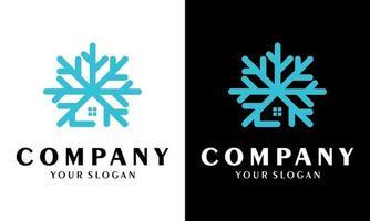 Snowflake house logo design Freeze-resistant icon vector design illustration template premium quality