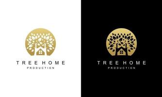 Ilustration vector graphic of Simple Luxury Gold tree, home, leaf, sun Vector Logo Design