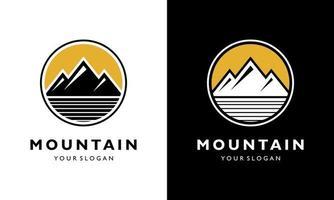 Ilustration vector graphic of  Logo design concept Vintage Sun Mountain sunrise camp adventure