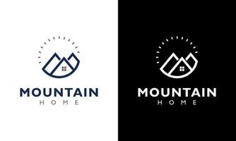 Ilustration vector graphic of Mountain house and sun concept Logo Design Template