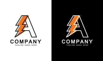 letter A with thunder bolt lightning flash icon inside vector