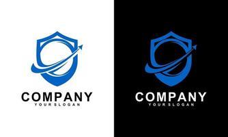 Shield, ball and arrow logo template design. Vector illustration